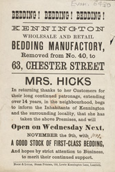 Advert for the Kennington Wholesale & Retail Bedding Manufactory